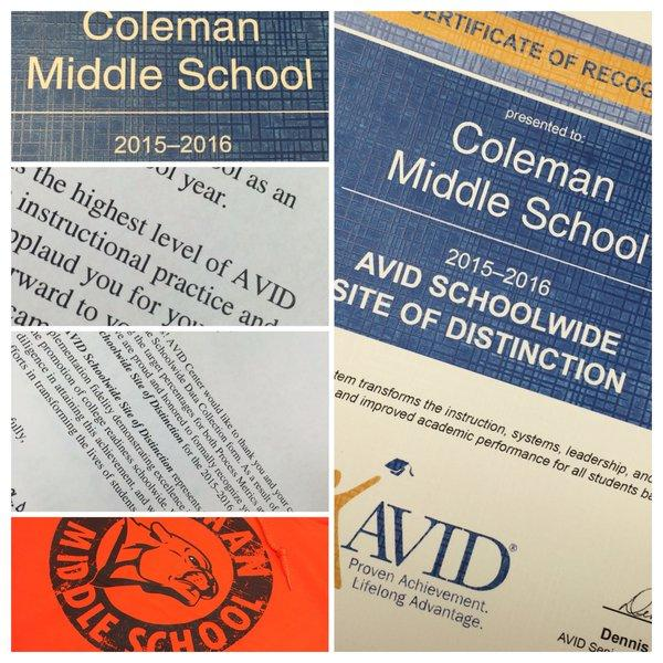 Coleman Earns AVID Schoolwide Site of Distinction